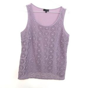 The Limited Tank Top Lace Purple Sleeveless Blouse